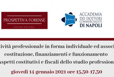 Attività professionale, giovedì 14 (ore 15.30) il primo webinar di Andoc Napoli