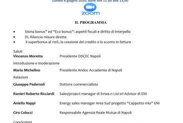 """""""Il rilancio dell'economia attraverso Sisma bonus ed Eco bonus"""": lunedì il webinar dell'Andoc Napoli"""